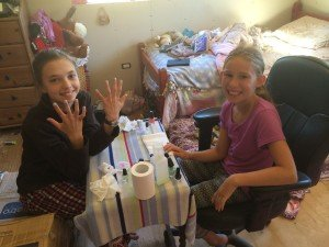 birthday girl manicures upstairs!