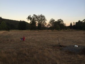 Girls coming in at sunset  from their long journey out to their home in the woods - love that she is 12 but still loves to play Little House on the Prairie
