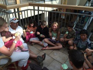 Eating ice cream for Lucas' birthday on Sunday!
