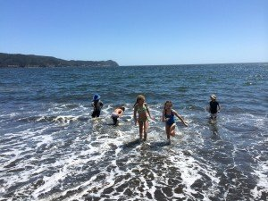The sun here is so hot, much stronger than the sun at home, thanks to the hole in ozone in the southern hemisphere...so the cold water felt great to the kids!