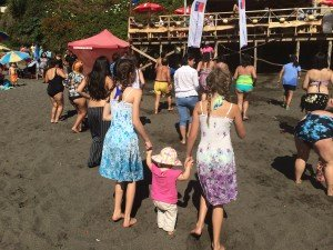 Rylee and Emma doing Zumba on the beach with Liberty (wearing their new sun dresses we bought from a Peruvian man selling them in the sand)